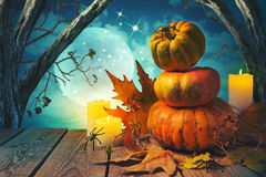 Halloween background with pumpkin on wooden table Royalty Free Stock Images