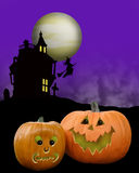Halloween background pumpkins stock photo