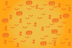 Halloween background pumpkins bats cats Stock Photo