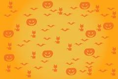 Halloween background pumpkins bats cats. Vector Stock Photo