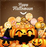 Halloween background with pumpkins and candies Stock Photography