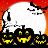 Halloween background with pumpkins, full moon and  Stock Images