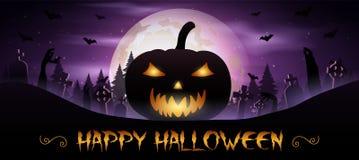 Halloween background with pumpkins on graveyard Stock Photos