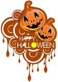 Halloween background with pumpkins isolated Stock Image