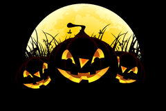 Halloween background with pumpkins and moon Royalty Free Stock Photo