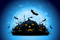 Halloween Background with Pumpkins and Moon Stock Photography