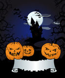 Halloween background with pumpkins, old castle, and  banner. Stock Images