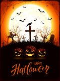 Halloween theme with pumpkins and raven on cemetery with Moon. Halloween background with pumpkins, raven on a old cross in the cemetery. Orange night with full Stock Images