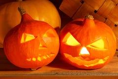 Halloween background. Pumpkins in a rural interior. Stock Photo