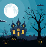 Halloween background with pumpkins and scary castle on graveyard. Invitation card on celebration Halloween. Stock Image