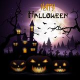 Halloween background with pumpkins and scary church on graveyard Stock Images