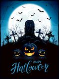 Halloween background with pumpkins and tomb on cemetery Stock Photo