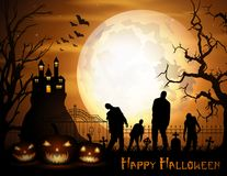 Halloween background with pumpkins, zombie, and scary church on graveyard Royalty Free Stock Photo