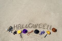 Halloween background on the sandy beach Stock Images