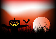 Halloween Background with Scarecrow. Illustration Royalty Free Stock Photo