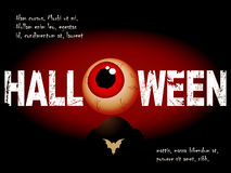 Halloween background with scary eye and sample text Royalty Free Stock Photos