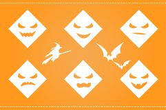 Halloween background with scary faces and Royalty Free Stock Image