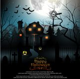 Halloween background with scary graveyard and farmhouse in the woods Royalty Free Stock Photography
