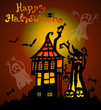 Halloween background with scary house Stock Photography