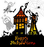 Halloween background with scary house Stock Photos