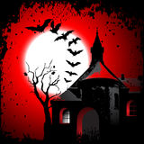 Halloween background with the scary house Stock Photos
