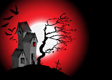 Halloween background with the scary house Royalty Free Stock Photo