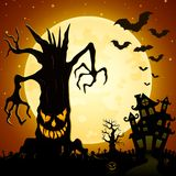 Halloween background. Scary monsters trees on cemetery with castle and full moon Royalty Free Stock Photography