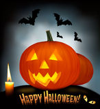 Halloween background with scary pumpkins, bats. Stock Photography