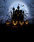Halloween background with scary pumpkins and Dracula castle. Halloween background with scary pumpkins, Dracula castle and various silhouettes of flying bats Vector Illustration