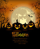 Halloween background with scary pumpkins Stock Images