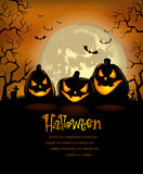 Halloween background with scary pumpkins Stock Photography