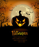 Halloween background with scary pumpkins Stock Photo