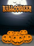 Halloween background with scary pumpkins, full moon, trees and bats. Royalty Free Stock Photography