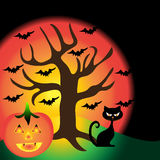 Halloween background. Scary tree pumpkin and cat. Fear concept vector image Stock Photography