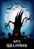 Halloween background with scary tree silhouette Stock Photos