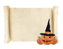Halloween background - scroll with pumpkin lantern. And witch hat on white background stock photos