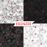 Halloween background, seamless pattern with spider Cobweb on the black and white background. Can be used for fabric textile design, for abstract holiday stock illustration