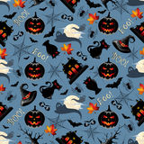 Halloween Background Seamless Pattern. Vector illustration representing Halloween background seamless pattern with lots of scary elements such as cats, bats Royalty Free Stock Photos