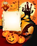 Halloween background with sign, in orange Stock Photography