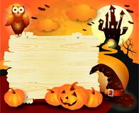 Halloween background with sign, in orange. Illustration Royalty Free Stock Images