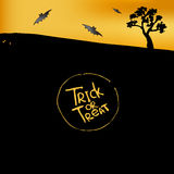 Halloween background. With silhouette of bats and tree. Trick or treat Royalty Free Stock Photo