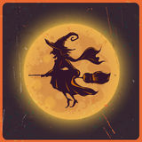 Halloween background with silhouette witch against moon vintage grunge background, vector & illustration Royalty Free Stock Photo