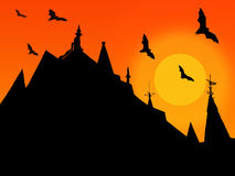Halloween background with silhouettes of castle roofs with weathervanes and flying bats on sun background royalty free illustration