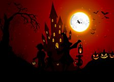 Halloween background with silhouettes of children on day night Stock Photos