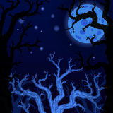 Halloween background with Silhouettes of Halloween trees. Royalty Free Stock Image