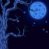 Halloween background with Silhouettes of Halloween trees. Royalty Free Stock Photo