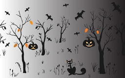 Halloween Background with silhouettes. Seamless Pattern. Halloween Vector Card, texture or background. Vector Art. Holiday Card. Halloween Background with Royalty Free Stock Photo