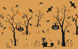 Halloween Background with silhouettes. Seamless Pattern. Halloween Vector Card, texture or background. Vector Art. Holiday Card. F. Halloween Background with Stock Photos