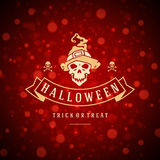 Halloween Background and Skull. Happy Halloween Typographic Design Vector Background and Skull Royalty Free Stock Images