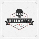 Halloween Background and Skull. Happy Halloween Typographic Design Vector Background and Skull Stock Images
